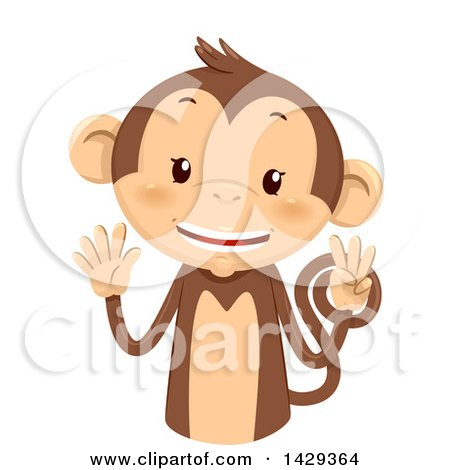 Clipart of a Cute Monkey Counting 8 on His Fingers - Royalty Free Vector Illustration by BNP Design Studio
