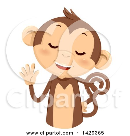 Clipart of a Cute Monkey Counting 5 on His Fingers - Royalty Free Vector Illustration by BNP Design Studio