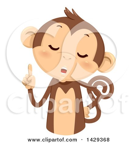 Clipart of a Cute Monkey Counting 1 on His Fingers - Royalty Free Vector Illustration by BNP Design Studio