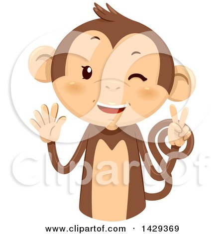 Clipart of a Cute Monkey Counting 7 on His Fingers - Royalty Free Vector Illustration by BNP Design Studio