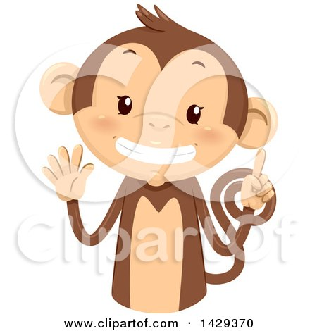 Clipart of a Cute Monkey Counting 6 on His Fingers - Royalty Free Vector Illustration by BNP Design Studio