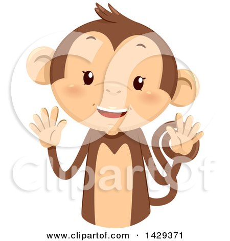 Clipart of a Cute Monkey Counting 10 on His Fingers - Royalty Free Vector Illustration by BNP Design Studio