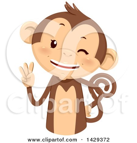 Clipart of a Cute Monkey Counting 3 on His Fingers - Royalty Free Vector Illustration by BNP Design Studio