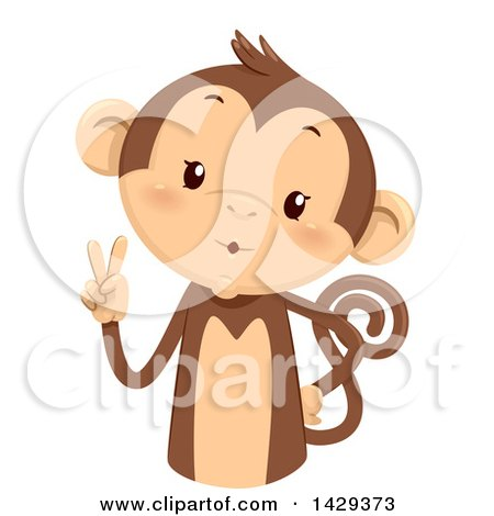 Clipart of a Cute Monkey Counting 2 on His Fingers - Royalty Free Vector Illustration by BNP Design Studio