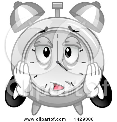 Clipart of a Cartoon Exhausted Alarm Clock Character - Royalty Free Vector Illustration by BNP Design Studio