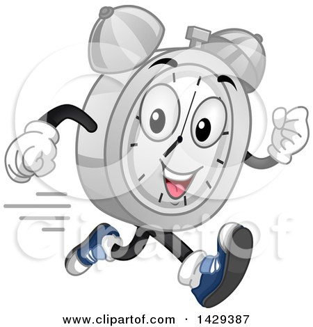 Clipart of a Cartoon Alarm Clock Character Running - Royalty Free Vector Illustration by BNP Design Studio