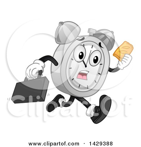 Clipart of a Cartoon Alarm Clock Character Running Late and Holding a Hand Pie - Royalty Free Vector Illustration by BNP Design Studio