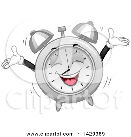Clipart of a Cartoon Alarm Clock Character Jumping at Wake up Time - Royalty Free Vector Illustration by BNP Design Studio