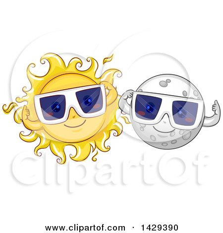 Clipart of Happy Moon and Sun Characters Wearing Solar Eclipse Glasses - Royalty Free Vector Illustration by BNP Design Studio