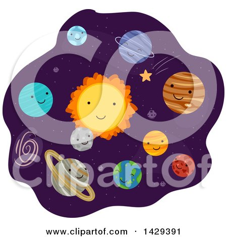 Clipart of Happy Planets in the Solar System - Royalty Free Vector Illustration by BNP Design Studio