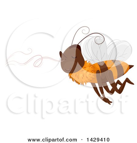 Clipart of a Bee Following a Sweet Smell - Royalty Free Vector Illustration by BNP Design Studio