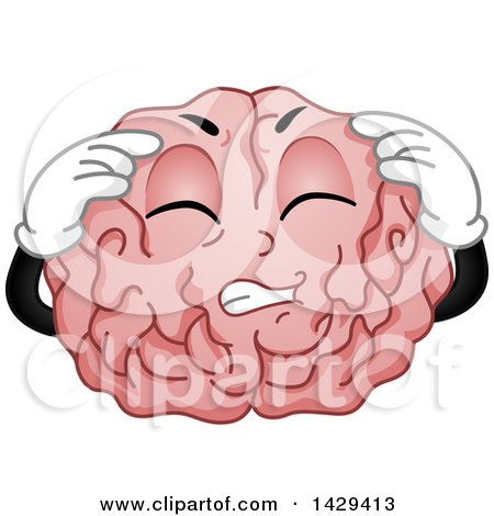 Clipart of a Brain Mascot Character with a Migraine - Royalty Free Vector Illustration by BNP Design Studio