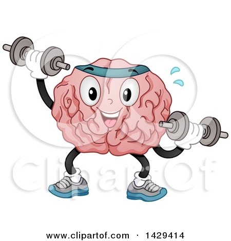 Clipart of a Brain Mascot Character Working out with Dumbbells - Royalty Free Vector Illustration by BNP Design Studio