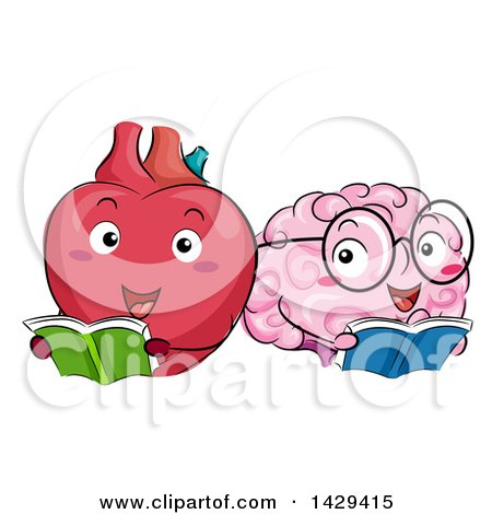 Clipart of Heart and Brain Mascots Reading Books - Royalty Free Vector Illustration by BNP Design Studio