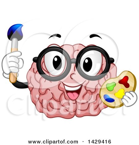 Clipart of a Brain Mascot Wearing Glasses, Holding a Paint Brush and Palette - Royalty Free Vector Illustration by BNP Design Studio