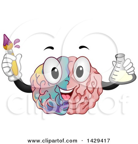 Clipart of a Brain Mascot Holding a Paint Brush and Flask - Royalty Free Vector Illustration by BNP Design Studio