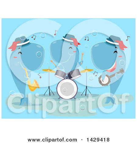 Clipart of a Band of Whales Playing a Horn, Drums and Banjo - Royalty Free Vector Illustration by BNP Design Studio