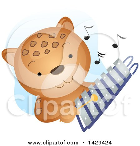Clipart of a Cute Cheetah Playing a Xylophone - Royalty Free Vector Illustration by BNP Design Studio