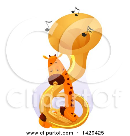 Clipart of a Cute Giraffe Playing a Tuba - Royalty Free Vector Illustration by BNP Design Studio
