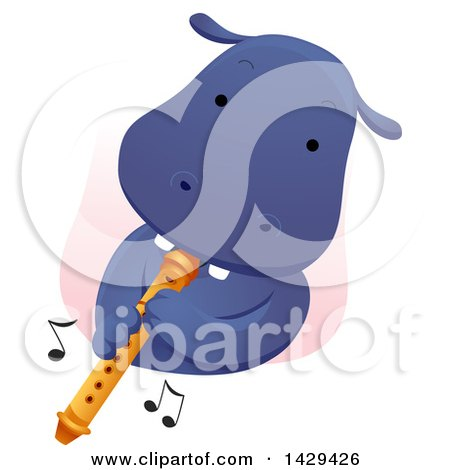 Clipart of a Cute Hippopotamus Playing a Flute - Royalty Free Vector Illustration by BNP Design Studio
