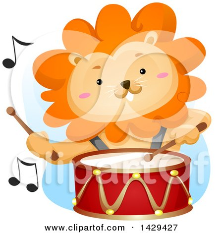 Clipart of a Male Lion Drummer - Royalty Free Vector Illustration by BNP Design Studio