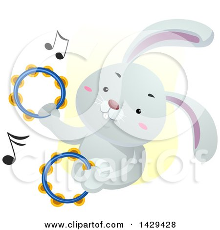 Clipart of a Cute Bunny Rabbit Playing the Tambourines - Royalty Free Vector Illustration by BNP Design Studio