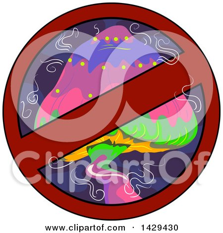 Clipart of a Psychedelic Mushroom in a Restricted Sign - Royalty Free Vector Illustration by BNP Design Studio