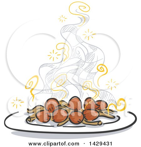 Clipart of a Plate of Steaming Hot Mushrooms and Checkers - Royalty Free Vector Illustration by BNP Design Studio