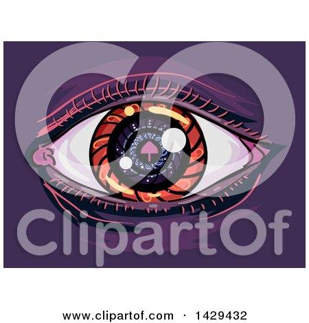 Clipart of a Psychadelic Mushroom Eye on Purple - Royalty Free Vector Illustration by BNP Design Studio