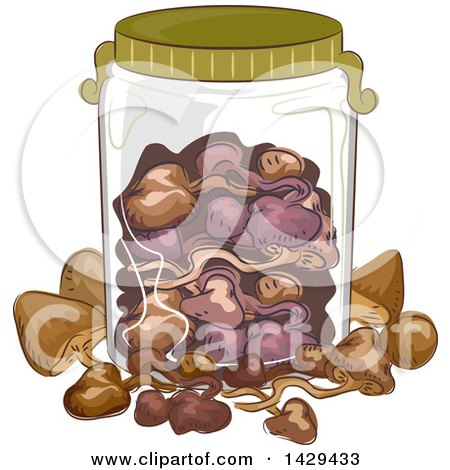 Clipart of a Glass Jar with Mushrooms - Royalty Free Vector Illustration by BNP Design Studio