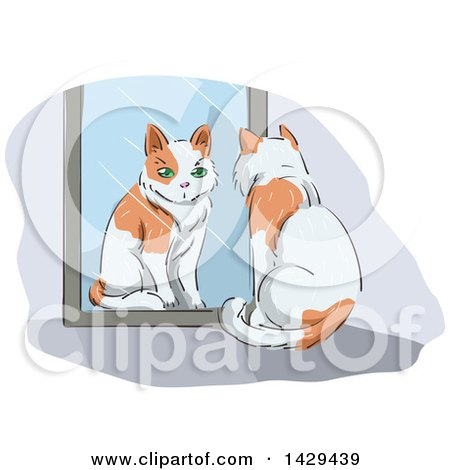 Clipart of a Cat Watching Itself in a Mirror - Royalty Free Vector Illustration by BNP Design Studio