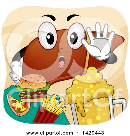 Clipart of a Human Liver Mascot Refusing Junk Food - Royalty Free Vector Illustration by BNP Design Studio