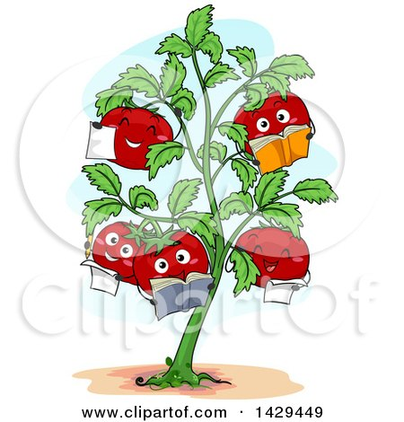 Clipart of a Tomato Plant with Happy Fruits Reading Books - Royalty Free Vector Illustration by BNP Design Studio