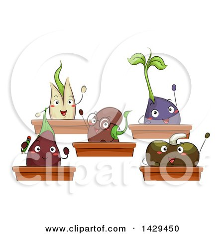Clipart of a Class of Seedling Plants - Royalty Free Vector Illustration by BNP Design Studio