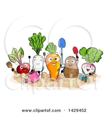 Clipart of a Group of Happy Vegetable Mascots Gardening - Royalty Free Vector Illustration by BNP Design Studio