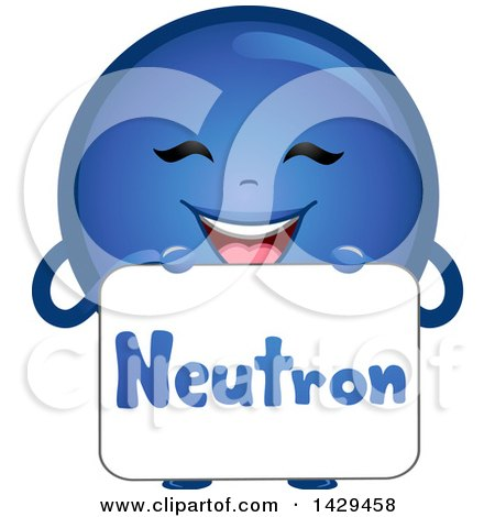 Clipart of a Happy Neutron Atomic Particle Mascot - Royalty Free Vector Illustration by BNP Design Studio