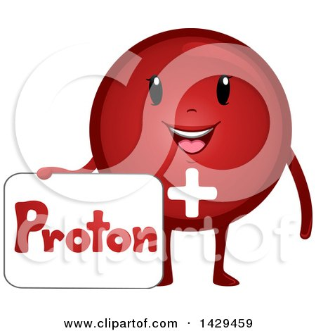 Clipart of a Happy Proton Atomic Particle Mascot - Royalty Free Vector Illustration by BNP Design Studio