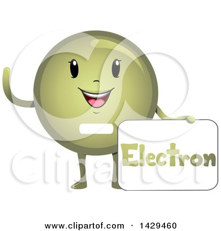 Clipart of a Happy Electron Atomic Particle Mascot - Royalty Free Vector Illustration by BNP Design Studio
