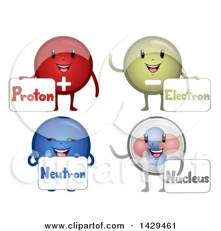 Clipart of a Happy Group of Atomic Particle Mascots - Royalty Free Vector Illustration by BNP Design Studio