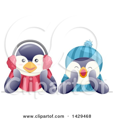 Clipart of Cute Penguins Wearing a Hat and Ear Muffs - Royalty Free Vector Illustration by BNP Design Studio