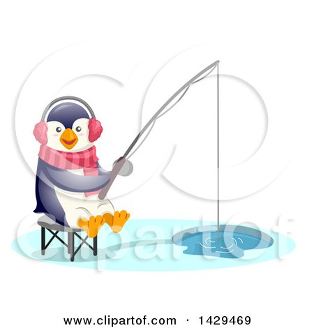 Clipart of a Cute Penguin Ice Fishing - Royalty Free Vector Illustration by BNP Design Studio