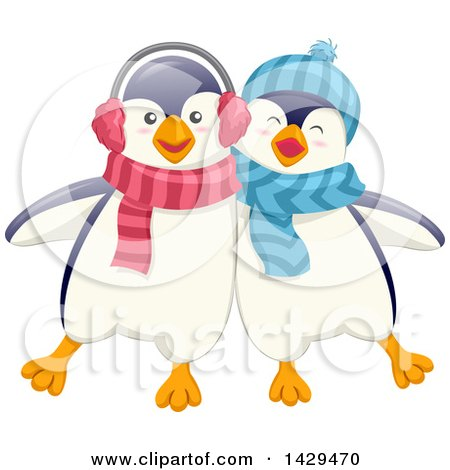 Clipart of Cute Penguin Friends - Royalty Free Vector Illustration by BNP Design Studio