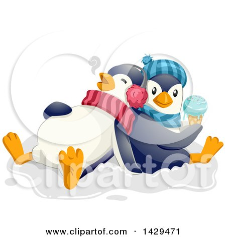 Clipart of Cute Penguins Eating Ice Cream - Royalty Free Vector Illustration by BNP Design Studio