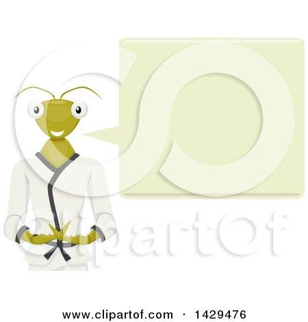 Clipart of a Talking Praying Mantis Mascot in a Karati Gi - Royalty Free Vector Illustration by BNP Design Studio