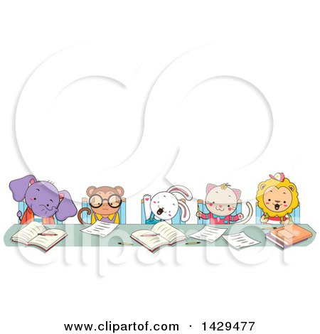 Clipart of a Group of Animal Students Studying at a Table, Under Text Space - Royalty Free Vector Illustration by BNP Design Studio