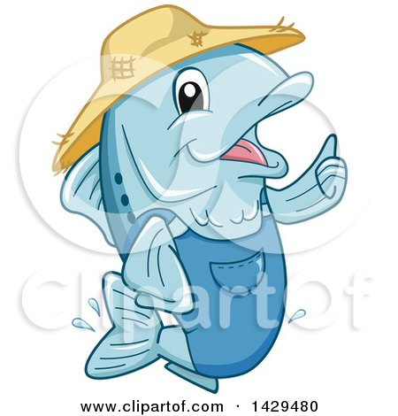 Clipart of a Happy Farmer Fish Giving a Thumb up - Royalty Free Vector Illustration by BNP Design Studio