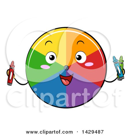Clipart of a Happy Color Wheel Mascot Holding Crayons - Royalty Free Vector Illustration by BNP Design Studio