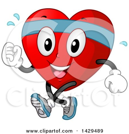 Clipart of a Happy Fit Love Heart Mascot Jogging or Speed Walking - Royalty Free Vector Illustration by BNP Design Studio