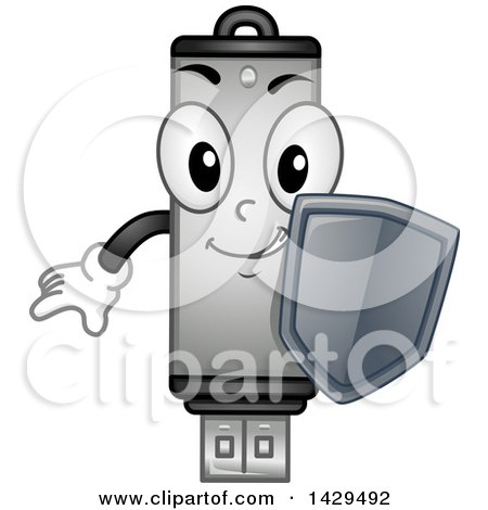 Clipart of a Usb Flash Drive Mascot Holding a Security Shield - Royalty Free Vector Illustration by BNP Design Studio
