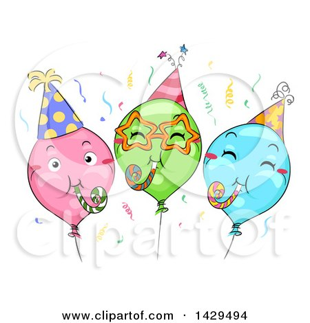 Clipart of a Group of Colorful Party Balloons with Noise Makers - Royalty Free Vector Illustration by BNP Design Studio